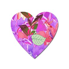 Abstract Design With Hummingbirds Heart Magnet