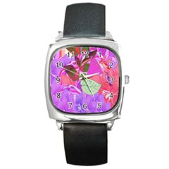Abstract Design With Hummingbirds Square Metal Watch