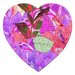 Abstract Design With Hummingbirds Jigsaw Puzzle (heart)