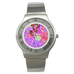 Abstract Design With Hummingbirds Stainless Steel Watch