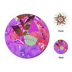Abstract Design With Hummingbirds Playing Cards (Round)