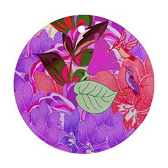 Abstract Design With Hummingbirds Round Ornament (Two Sides)