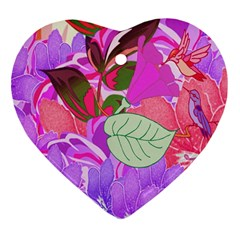Abstract Design With Hummingbirds Heart Ornament (two Sides)