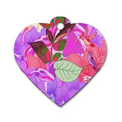 Abstract Design With Hummingbirds Dog Tag Heart (One Side)
