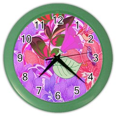 Abstract Design With Hummingbirds Color Wall Clocks