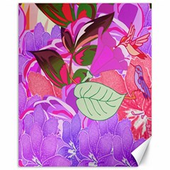 Abstract Design With Hummingbirds Canvas 11  x 14