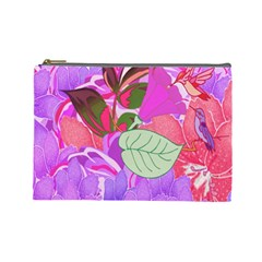 Abstract Design With Hummingbirds Cosmetic Bag (Large)