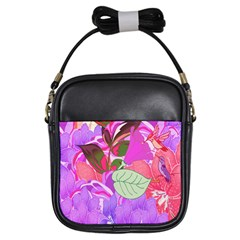 Abstract Design With Hummingbirds Girls Sling Bags