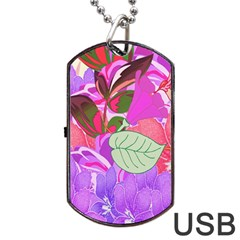 Abstract Design With Hummingbirds Dog Tag USB Flash (Two Sides)