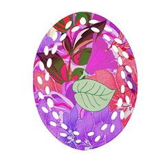 Abstract Design With Hummingbirds Oval Filigree Ornament (two Sides)