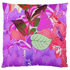 Abstract Design With Hummingbirds Large Cushion Case (One Side)
