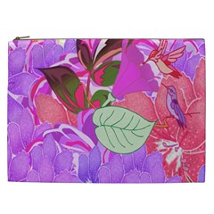 Abstract Design With Hummingbirds Cosmetic Bag (XXL)