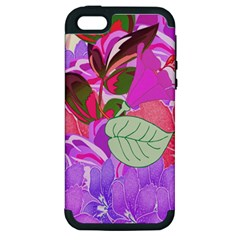 Abstract Design With Hummingbirds Apple Iphone 5 Hardshell Case (pc+silicone)