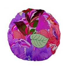 Abstract Design With Hummingbirds Standard 15  Premium Round Cushions