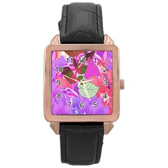 Abstract Design With Hummingbirds Rose Gold Leather Watch