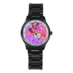 Abstract Design With Hummingbirds Stainless Steel Round Watch