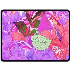 Abstract Design With Hummingbirds Double Sided Fleece Blanket (Large)