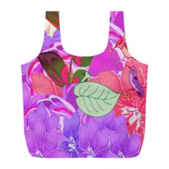 Abstract Design With Hummingbirds Full Print Recycle Bags (l)