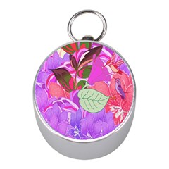 Abstract Design With Hummingbirds Mini Silver Compasses