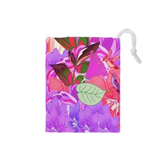 Abstract Design With Hummingbirds Drawstring Pouches (small)