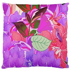 Abstract Design With Hummingbirds Large Flano Cushion Case (Two Sides)