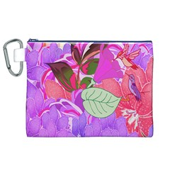 Abstract Design With Hummingbirds Canvas Cosmetic Bag (xl)