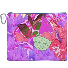 Abstract Design With Hummingbirds Canvas Cosmetic Bag (XXXL)