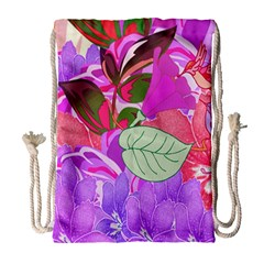 Abstract Design With Hummingbirds Drawstring Bag (large)