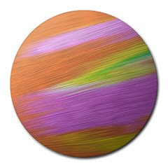 Metallic Brush Strokes Paint Abstract Texture Round Mousepads