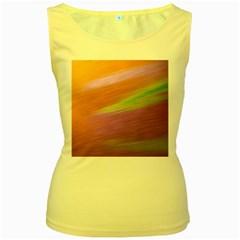Metallic Brush Strokes Paint Abstract Texture Women s Yellow Tank Top
