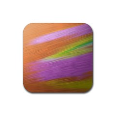 Metallic Brush Strokes Paint Abstract Texture Rubber Coaster (Square)
