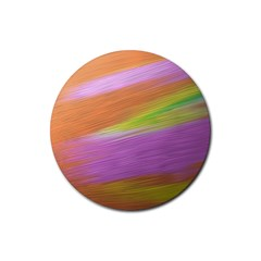 Metallic Brush Strokes Paint Abstract Texture Rubber Round Coaster (4 Pack)