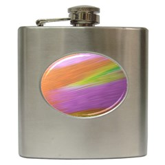 Metallic Brush Strokes Paint Abstract Texture Hip Flask (6 Oz)