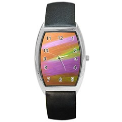 Metallic Brush Strokes Paint Abstract Texture Barrel Style Metal Watch