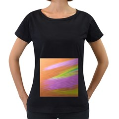 Metallic Brush Strokes Paint Abstract Texture Women s Loose Fit T Shirt (black)