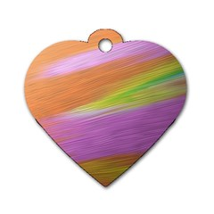 Metallic Brush Strokes Paint Abstract Texture Dog Tag Heart (Two Sides)