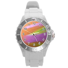 Metallic Brush Strokes Paint Abstract Texture Round Plastic Sport Watch (l)