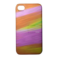 Metallic Brush Strokes Paint Abstract Texture Apple Iphone 4/4s Hardshell Case With Stand