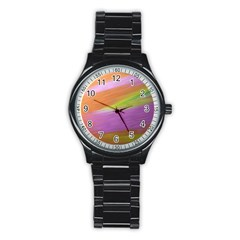 Metallic Brush Strokes Paint Abstract Texture Stainless Steel Round Watch