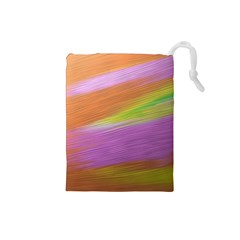 Metallic Brush Strokes Paint Abstract Texture Drawstring Pouches (small)
