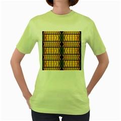 Light Steps Abstract Women s Green T-Shirt