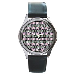 Colorful Pixelation Repeat Pattern Round Metal Watch