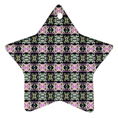 Colorful Pixelation Repeat Pattern Ornament (star)