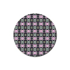 Colorful Pixelation Repeat Pattern Rubber Round Coaster (4 pack)