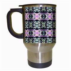 Colorful Pixelation Repeat Pattern Travel Mugs (white)