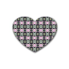 Colorful Pixelation Repeat Pattern Rubber Coaster (Heart)