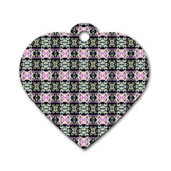 Colorful Pixelation Repeat Pattern Dog Tag Heart (Two Sides)