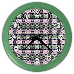 Colorful Pixelation Repeat Pattern Color Wall Clocks