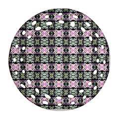 Colorful Pixelation Repeat Pattern Ornament (round Filigree)