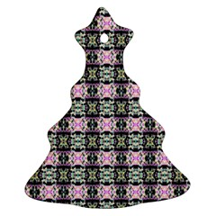 Colorful Pixelation Repeat Pattern Christmas Tree Ornament (Two Sides)
